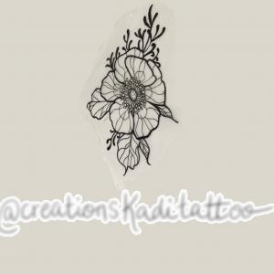 wild flower tattoo flash