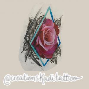 sketchy realism rose color flash