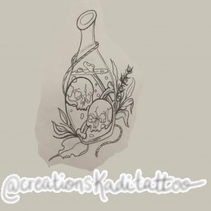tattoo flash potion skull love