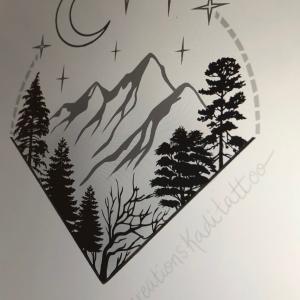 tattoo flash arbre lune étoile