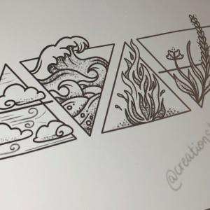4 elements tattoo triangle