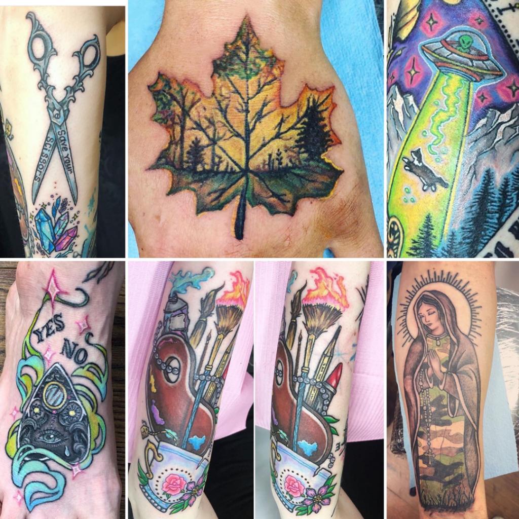 color tattoo neo trad alien ouija